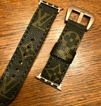 brown and black leather belt