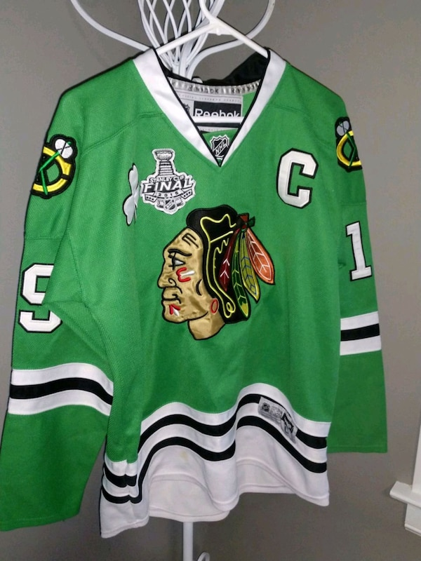 new style da5e3 bb56b Official NHL Chicago Blackhawks Towes green jersey