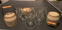 2 Pottery Barn Crocks and 6 Mason Jar Hanging Glass candle holders Purcellville, 20132