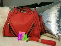 red and black leather tote bag Ruskin, 33570