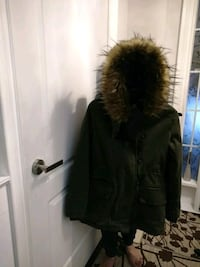 Green cozy detachable hood coat