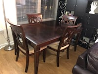 rectangular brown wooden table with six chairs dining set WASHINGTON