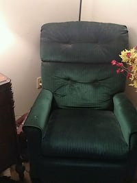 Green fabric recliner sofa chair
