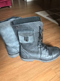 pair of gray leather lace up boots Las Vegas, 89103