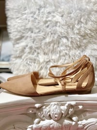 Women's Pointed Toe Nude Flats Size 10 Stevens, 17578