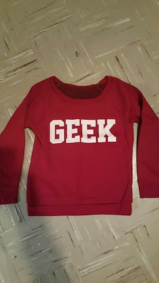 red and white Geek sweater