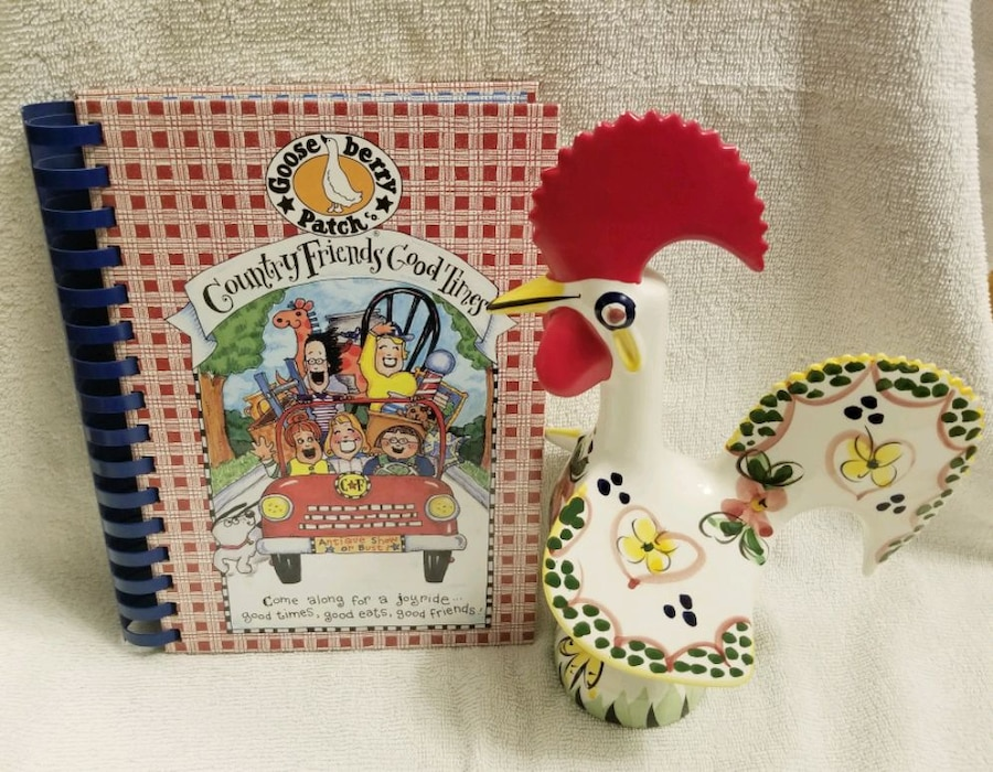 Photo Set of Farm Country Ceramic Rooster & Book