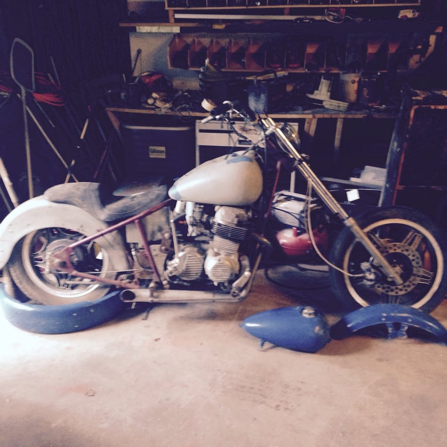 White and black motorcycle new build