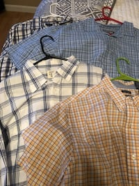 two black and white plaid dress shirts Fort Worth, 76244