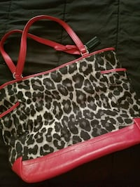 black and white leopard print leather tote bag San Diego, 92104