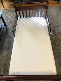 Toddler Bed w/drawers and New Mattress & Pad