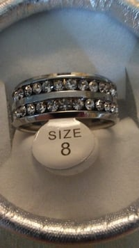 Stainless steel AAA crystal double row ring size 8