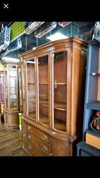 brown wooden framed glass display cabinet Fort Wayne, 46808
