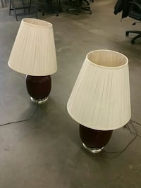 two brown tabletop lamps with white lamp shades Largo, 20774