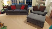 gray and white fabric sofa set