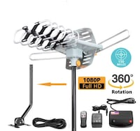 Brand New In Box [Upgraded 2018] Amplified HD Digital TV Antenna - Outdoor HDTV Antenna 150 Mile Range Motorized with Adjustable Antenna Mount Pole for 2 TVs Support UHF/VHF/1080P Remote Control -33' Coax Cable Hayward, 94544