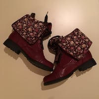 NEW. SIZE: 10. Women's Burgundy Floral lace up boots. Winchester, 22602