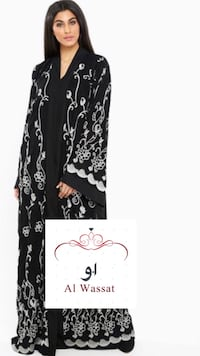 black and white floral long-sleeved dress 791 km