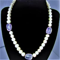 FRESH WATER PEARLS & NATURAL AMETHYST STONES NECKLACE  Manchester