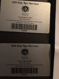 Artistic Day Spa Gift Certificates 2 $50 cards for $75 London, N5X 0G1
