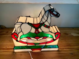 Beautiful Tiffany style stained glass carousel horse lamp