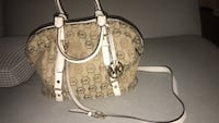 Brown and white monogrammed michael kors leather tote bag Murrieta, 92562