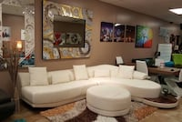 white leather sectional sofa with throw pillows Cabo Coral, 33990