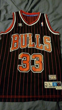 black and red Chicago Bulls Pippen jersey