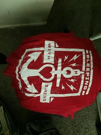 red and white Sleeping with Sirens textile