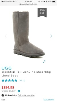 unpaired gray UGG Bailey Button boot screenshot San Diego, 92103