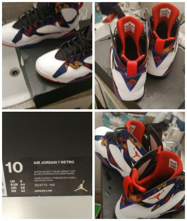 5a4114b8b6444c Used blue white and red air jordan 7 retro and box for sale in ...