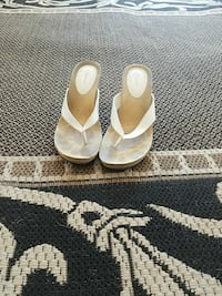 pair of white leather open-toe heeled sandals Tucson, 85705