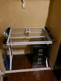 Artist Draft Table - Glass and Metal Frame - Paint, Draw, Design Aurora, L4G 1N1