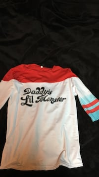 white,black,and red Daddy's Lil Monster print shirt Prince George