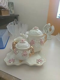 white and pink floral ceramic tea set Henderson