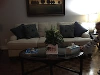 Cream couch 2 months old. Mom is moving and it won't fit. Throwing in 2x end tables and matching coffee table. Pick up Burlington close to downtown. Pillows not included 513 km