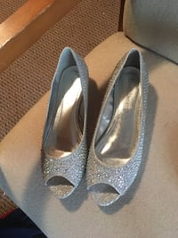 pair of silver-colored beaded peep toe flats West Norriton, 19403