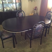round brown wooden table with four chairs dining set 1945 mi