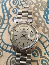 round silver Rolex analog watch with silver link bracelet Los Angeles, 91335