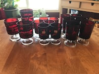 Vintage Made in France Red Arcoroc Luminarc Stemware