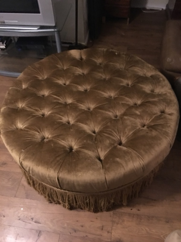 Admirable Round Brown Fabric Tufted Ottoman Onthecornerstone Fun Painted Chair Ideas Images Onthecornerstoneorg