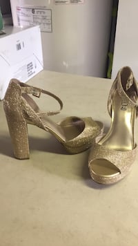 pair of brown open-toe platform stilettos Laval