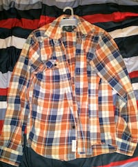 White, blue, and red plaid sport shirt New York, 10029