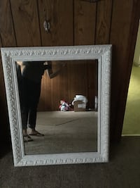 rectangular gray wooden framed mirror