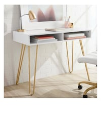 NEW white writting desk with gold legs