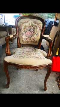 brown wooden frame white floral padded armchair Springfield, 01129