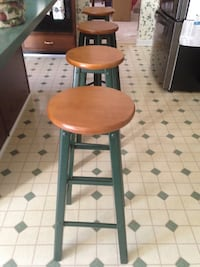 Set of 4 (four) wooden stools