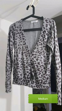 medium black and gray leopard print long-sleeved cardigan Barrie, L4N 8N8
