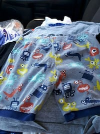 toddler's blue and yellow printed shirt Garson, P3L