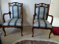 French antique brown wooden framed blue armchairs sofa set Ashburn, 20147